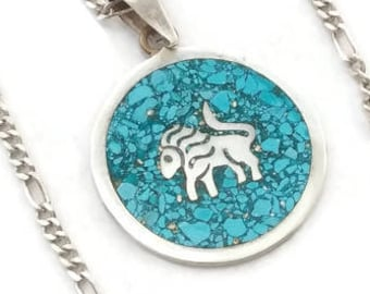 Vintage Sterling Silver Inlaid Turquoise Pendant Necklace.  Sterling Silver Leo Lion Inlaid in Turquoise on Signed Silver Chain.