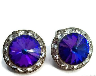 Vintage Silver Tone Clip On Earrings. Channel Set Clear Crystals Around Blue Aurora Borealis Rivoli Crystal. Button Earrings. 1950s.