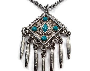 Geometric Faux Turquoise Silver Tone Fringe Pendant Necklace. Southwestern Style Jewelry. Tribal Style. 1970s Jewelry.