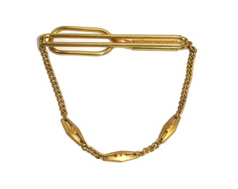 1950s Tie Bar signed Swank  Vintage Gold Tone Tie Clip with Stirrup Charm  Equestrian Rider Motif