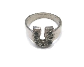 4f3a7e2b5e37 Vintage Silver Tone and Black Enamel Horseshoe Ring. Good Luck Ring.
