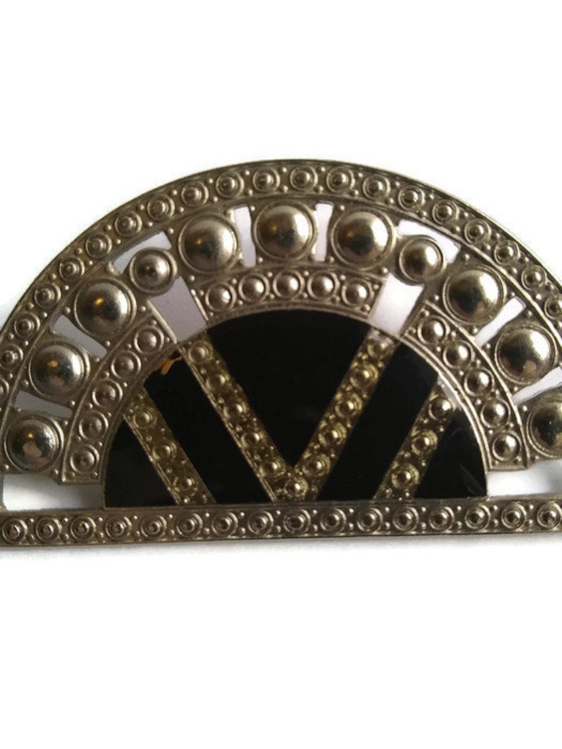 Geometric Brooch Pin Typical Bex Style Design Fashionable Pierre Bex Art Deco Semicircle Shaped Brooch Silver Tone Brooch Pin.