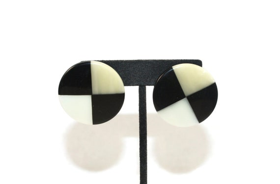 Vintage Off White Lucite Plastic Stud Earrings with Post Backs for Pierced Ears.