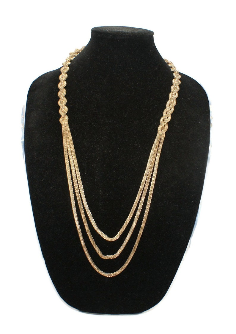 31 Inch Necklace with Lobster Claw Clasp. 3 Mesh Strand Vintage Gold Tone Braided Rope Chain Necklace