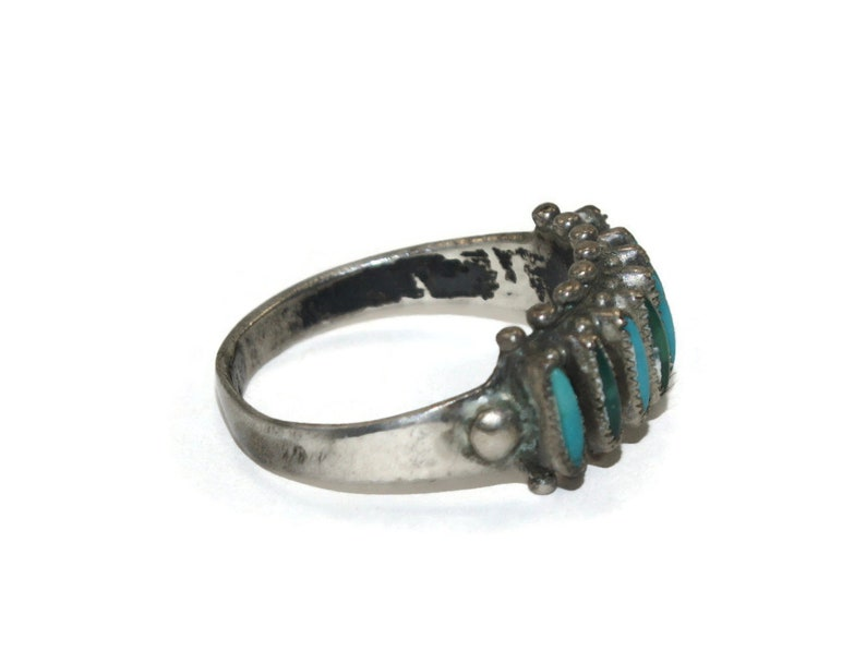 Blue and Green Turquoise Petit Point Size 7 12 Ring. Vintage Native American Sterling Silver