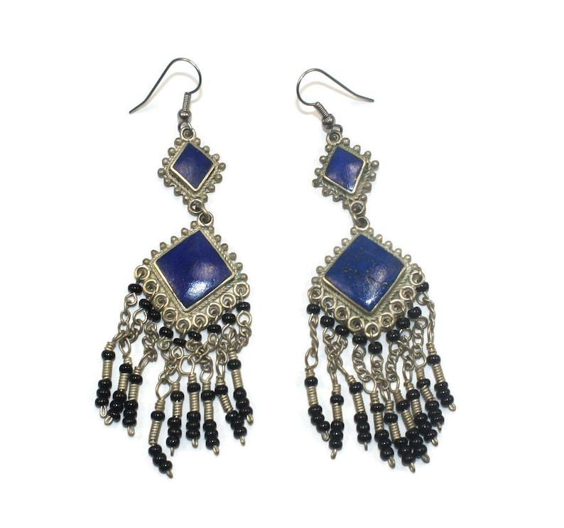 Vintage Tibetan Silver Lapis Lazuli and Black Glass Bead Dangle Earrings with Hook Backs for Pierced Ears.