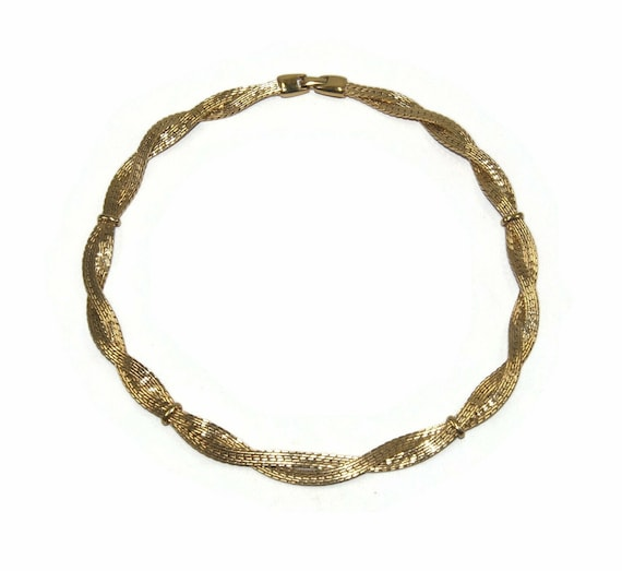 Vintage Silver Tone and Gold Tone 16 Inch 2 Tone Choker Necklace with Hinged Clip Clasp.