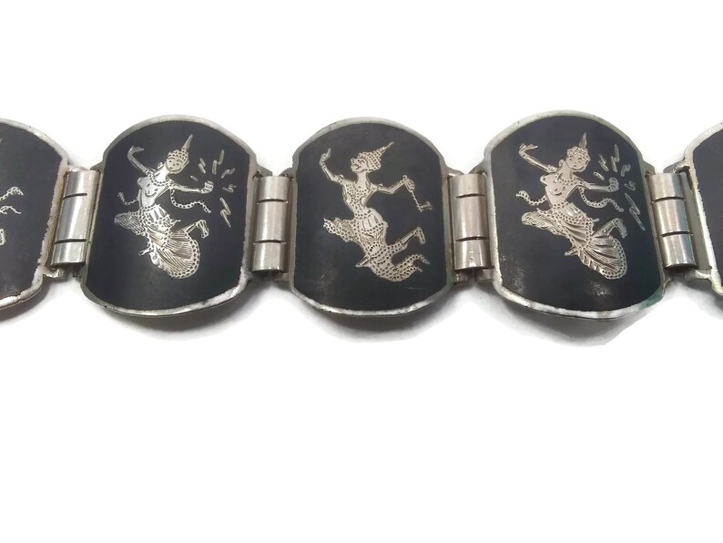 Hallmarked Sterling 925 Made in Siam. Vintage Siam Silver Niello Ware Link Bracelet Depicting Mekkalah Goddess of Lightning on Each Link