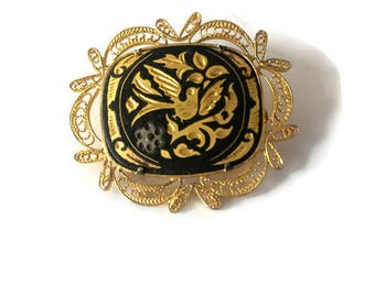 Vintage 1960s Damascene Art Nouveau Brooch
