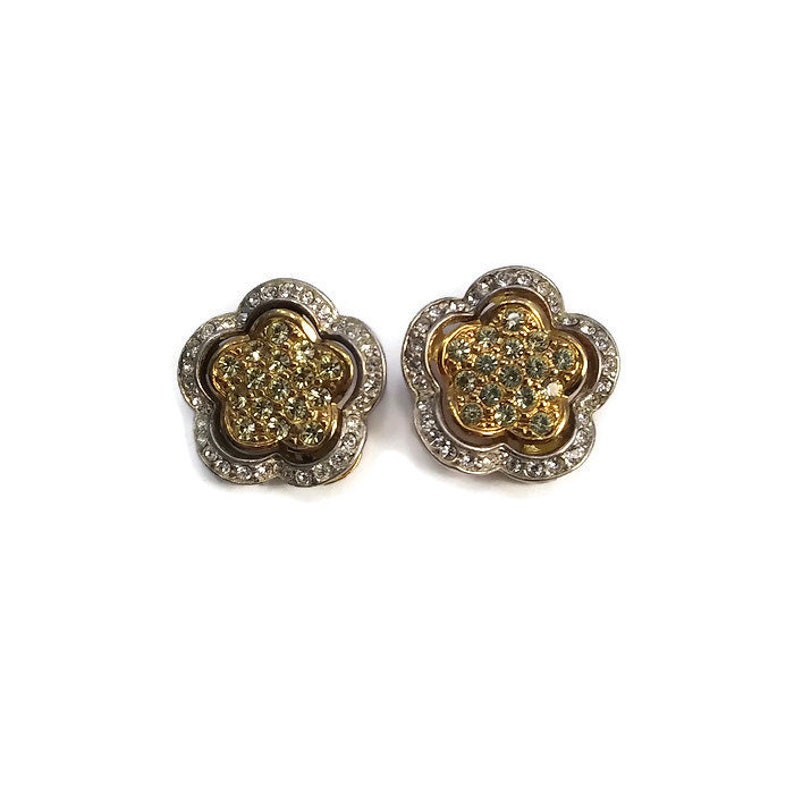 Flower Earrings and Yellow and Clear Rhinestones Flower Clip on Back Earrings Floral Motif. Gold Tone and Silver Tone Two Tone