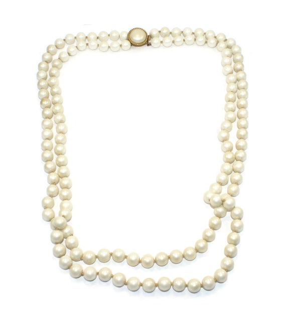 Designer Vintage Marvella 2 Strand Faux Pearl Nec… - image 3