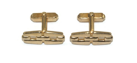 Vintage Gold Tone Ruby Red Cufflinks Rare Patent Pending Anson Gold Tone Ruby Red Cufflinks