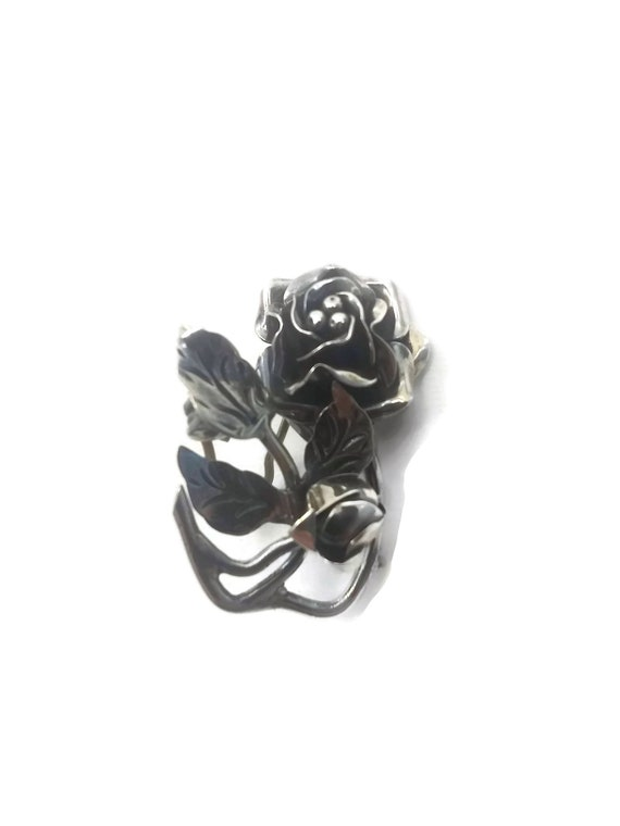 Marked TS-30 925. Vintage Mexico Sterling Silver Rose Brooch