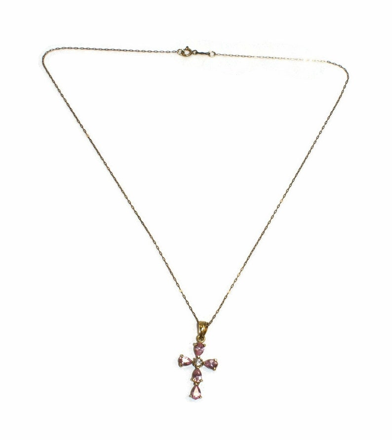 Marked 925. Vintage Gold Plated Sterling Silver and Pink and Clear Topaz Cross Pendant on Fine 18 Inch Rolo Chain