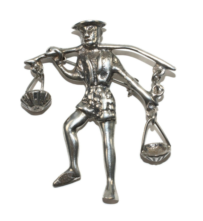 Vintage Sterling Silver Man Carrying Baskets Brooch Marked Made in Mexico.