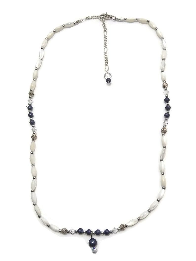 White and Clear Glass Beaded Necklace Delicate Vintage Sterling Silver and Dark Blue Lobster Claw Clasp.