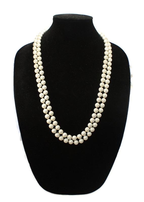 Designer Vintage Marvella 2 Strand Faux Pearl Nec… - image 2