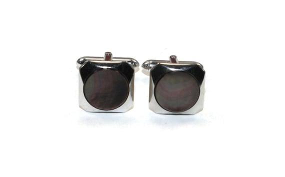 Vintage Swank Cuff Links Silver Plated Unpolished Ornate Oval Design