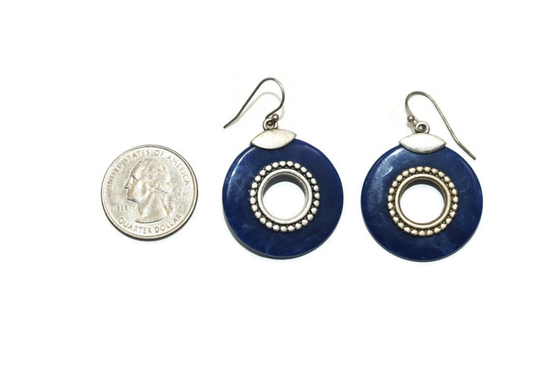 Vintage Silver Tone and Marbled Blue Plastic Circle Earrings with French Ear Wire Backs for Pierced Ears.