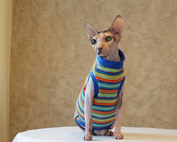 Rainbow. Cat sweater fleece. Fleece pajama. Sphynx cat clothes. Cat suit.  Kitty sweater. Clothing for cats. Hairless cat. Cat apparel.