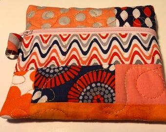 Orange and Blue Patchwork Zip Purse