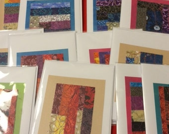 Quilted Blank Greeting Cards 5 Cards