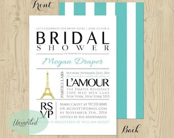 Elegant Paris Themed Bridal Shower Invitation - Bridal Shower, Wedding Shower, Invitations, Invites, Shower, Paris, Ooh la la, eiffel tower