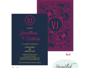 Engagement Party Invitation, Engagement Invitation, Navy, Pink, Navy Engagement Invitation