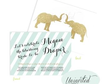 Elephant Bridal Shower Invitation - Bridal Shower Invites, Wedding Shower, Bridal Shower, Invitation, Invites,