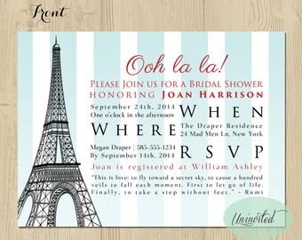 Paris Themed Bridal Shower Invitation - Bridal Shower, Wedding Shower, Invitations, Invites, Shower, Paris, Ooh la la, eiffel tower, striped