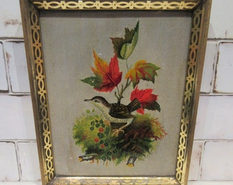 Antique Folk Art Painting - Colorful Bird on Tree Branch - Victorian Lemon Gold Frame