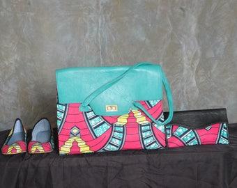 Teal Dazzled African Print Handbag