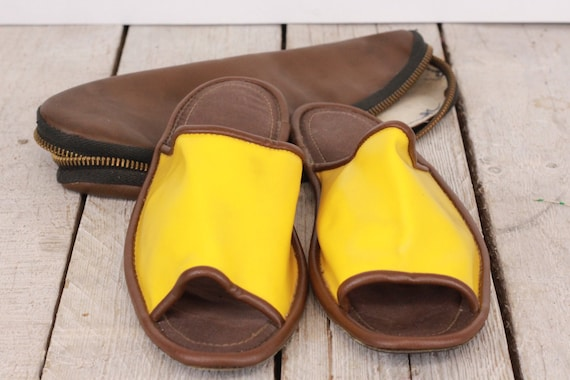 Slippers, Traveling slippers, Faux leather slipper