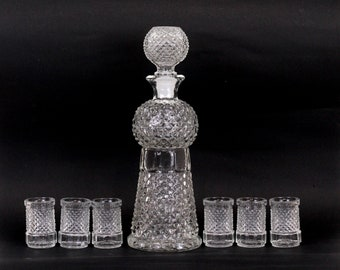 Vintage Embossed Scotch Glass Decanter with Six Shot Glasses