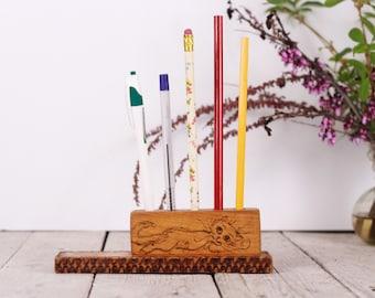 Wooden pencil holder, Paintbrush holder, Pen holder, Cat pencil holder, Handmade pencil holder, Vintage desk storage, Desk accessory, Gift