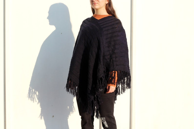 Vintage Cotton Fringe Poncho Top Coat Poncho Ethnic Pullover Poncho Womens Poncho
