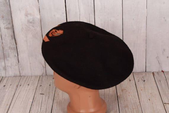 Black wool beret, Vintage beret, Old beret, Black… - image 3