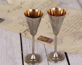 Old goblets, Metal wine chalice, Engraved goblets, Pair metal cups, Vintage metal goblets, Shot drink, Drinking goblets 50's Factory stamped