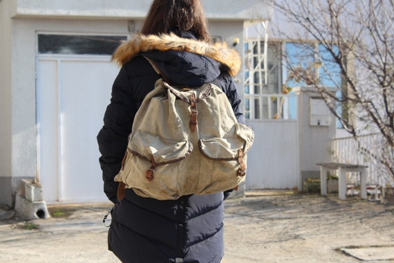 Vintage Canvas Khaki Backpack, Military Backpack,