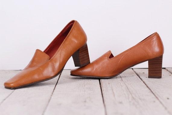 Damenschuhe, Vintage 80er Jahre 90er Jahre Schuhe, Karamell braun Pumpen, echtes Lederschuhe, mittlere Fersen Schuhe, Größe EU 35 US 5 UK 4,