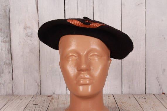 Black wool beret, Vintage beret, Old beret, Black… - image 2