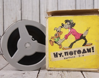 1960's Nu Pogodi film, 8 mm USSR film cartoon, Vintage home cinema film, Color animated cartoon, Well, Just You Wait movie, Collectible film
