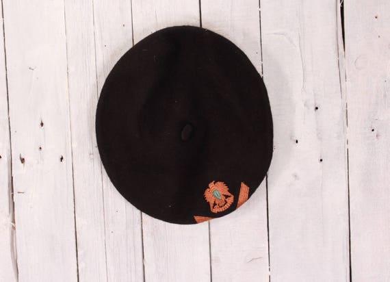 Black wool beret, Vintage beret, Old beret, Black… - image 4