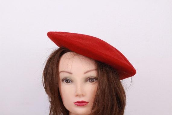 Red wool beret, Vintage beret, Old beret, Red bere