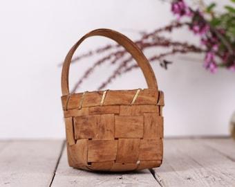 Vintage Primitive Rustic Wooden Picnic Basket Top Handle Wicker