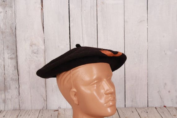 Black wool beret, Vintage beret, Old beret, Black