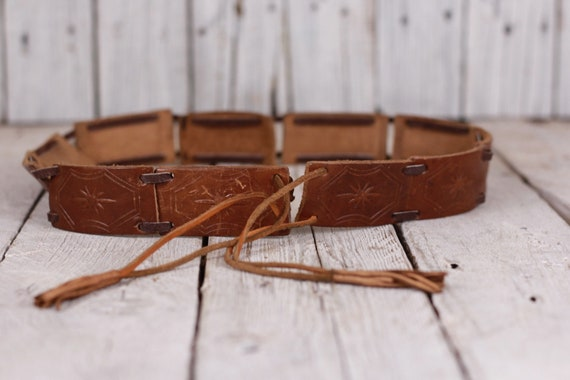Vintage Leather Woman Belt with Fringe, Leather Be