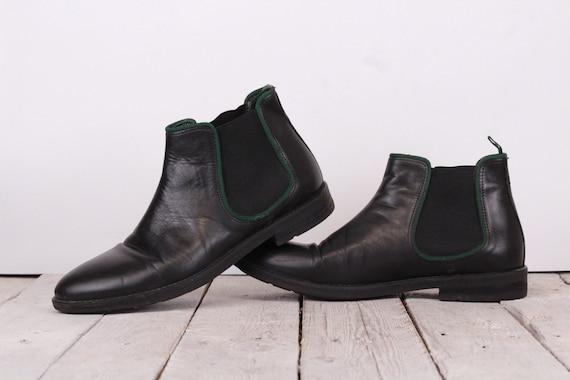 Vintage Men's Ankle Boots  Black Leather Boots Siz