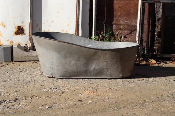 Antique French Child S Wash Tub Galvanized Bath Tub Etsy
