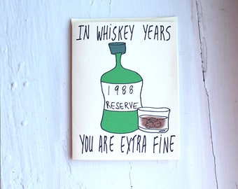 1988 whiskey  birthday card funny whiskey birthday card him 30th birthday card funny customizable birthday card 1988 for whiskey lover